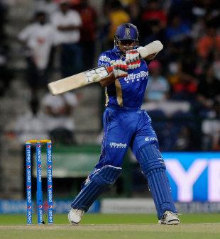 Stuart Binny set to slap the ball, Hyderabad v Rajasthan, Indian T20 league, Abu Dhabi, April 18, 2014