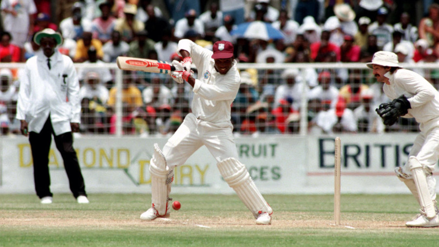 Brian Lara cuts on his way to a world-record score