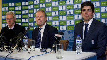 Peter Moores, Paul Downton and Alastair Cook at the unveiling of England's new coach