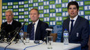 Peter Moores, Paul Downton and Alastair Cook at the unveiling of England's new coach, Lord's, April 19, 2014
