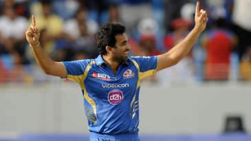 Zaheer Khan exults after a wicket