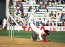 Australian wicketkeeper Kevin Wright dives for the ball, India v Australia, 6th Test, Bombay, 4th day, November 7, 1979