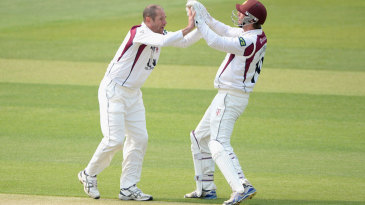 Andrew Hall celebrates a wicket with David Murphy