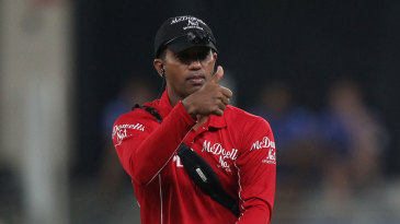 Kumar Dharmasena with the equipment for the umpire camera
