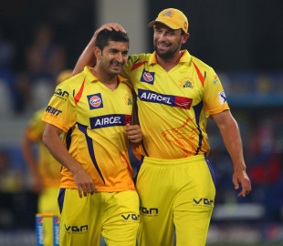 Mohit Sharma picked up 4 for 14, Mumbai Indians v Chennai Super Kings, IPL 2014, Dubai, April 25, 2014
