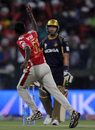 L Balaji celebrates the dismissal of Jacques Kallis, Kolkata Knight Riders v Kings XI Punjab, IPL 2014, Abu Dhabi, April 26, 2014