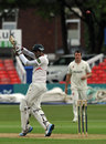Jigar Naik made an unbeaten 59, Leicestershire v Glamorgan, County Championship, Division Two, Grace Road, April 28, 2014
