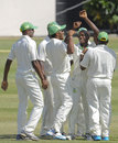 Kenroy Peters is congratulated after his hat-trick, Windward Islands v Jamaica, Regional Four Day Competition, Final, St Lucia, 3rd day, April 29, 2014