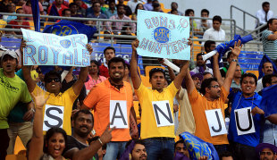 Sanju Samson had his own set of fans in Abu Dhabi, Kolkata Knight Riders v Rajasthan Royals, IPL, Abu Dhabi, April 29, 2014