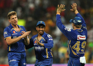 James Faulkner took two wickets in two balls to jolt Knight Riders, Kolkata Knight Riders v Rajasthan Royals, IPL, Abu Dhabi, April 29, 2014