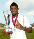 Damion Jacobs with Headley-Weekes Trophy, Windward Islands v Jamaica, Regional Four Day Competition, final, St Lucia, 4th day, April 29, 2014