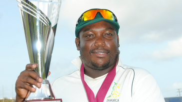 Jamaica captain Tamar Lambert shows off the Headley-Weekes Trophy