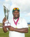 Jamaica captain Tamar Lambert shows off the Headley-Weekes Trophy, Windward Islands v Jamaica, Regional Four Day Competition, final, St Lucia, 4th day, April 29, 2014