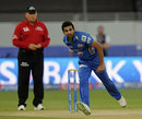 Zaheer Khan in his follow-through, Mumbai Indians v Sunrisers Hyderabad, IPL 2014, Dubai, April 30, 2014