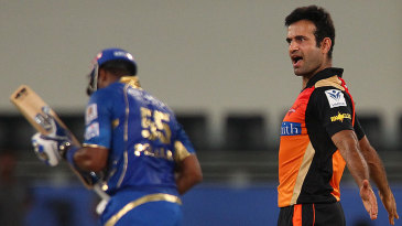 Irfan Pathan cannot contain his excitement after getting rid of Kieron Pollard