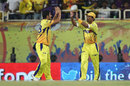 Mithun Manhas is congratulated after taking the catch to send Jacques Kallis back, Chennai Super Kings v Kolkata Knight Riders, IPL 2014, Ranchi, May 2, 2014