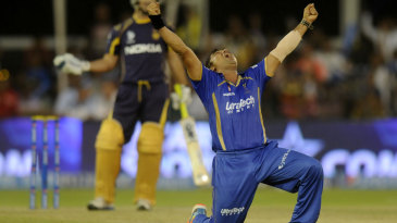 Pravin Tambe exults after dismissing Ryan ten Doeschate for his hat-trick