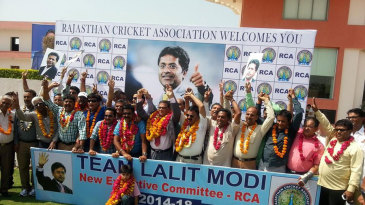 Lalit Modi's supporters celebrate after he is named Rajasthan Cricket Association president