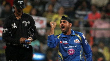 Harbhajan Singh is ecstatic with the wicket of Chris Gayle