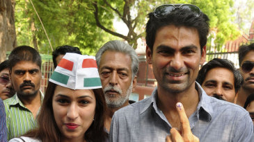 Mohammad Kaif, the Congress candidate from the Phulpur constituency, poses after casting his vote