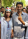 Mohammad Kaif, the Congress candidate from the Phulpur constituency, poses after casting his vote, Allahabad, May 7, 2014