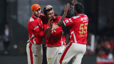 Debutant Shivam Sharma celebrates after dismissing Yuvraj Singh