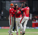 Debutant Shivam Sharma celebrates after dismissing Yuvraj Singh, Royal Challengers Bangalore v Kings XI Punjab, IPL 2014, Bangalore, May 9 2014