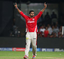 Shivam Sharma dismissed Albie Morkel for 16, Royal Challengers Bangalore v Kings XI Punjab, IPL 2014, Bangalore, May 9 2014