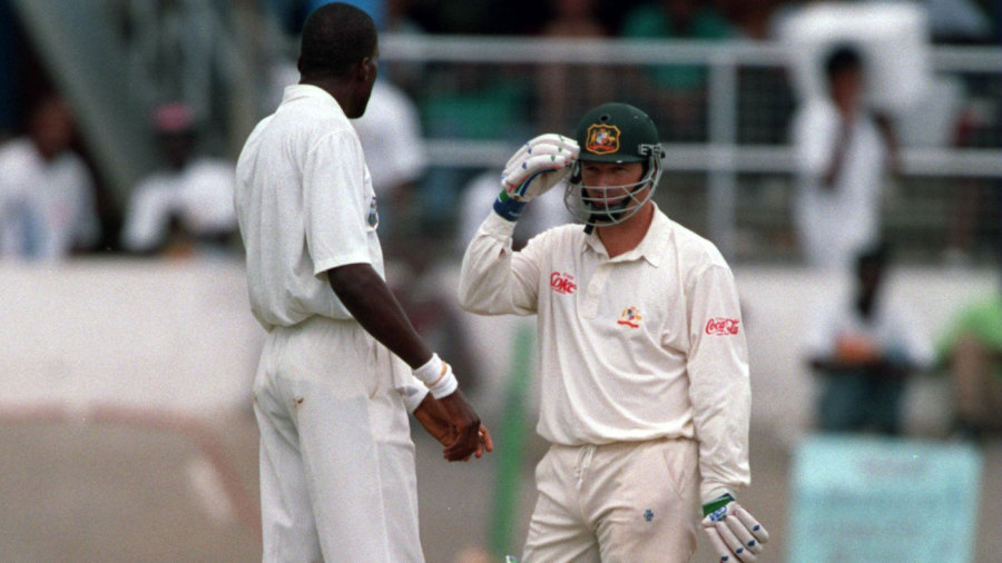Curtly Ambrose and Steve Waugh eye each other