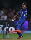 Rahul Tewatia has a bowl, Royal Challengers Bangalore v Rajasthan Royals, IPL 2014, Bangalore, May 11, 2014