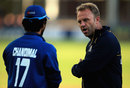 Sri Lanka's batting consultant Chris Adams gives some advice to Dinesh Chandimal, Essex v Sri Lankans, Tour match, Chelmsford, May 13, 2014