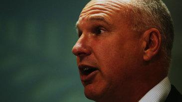 New Zealand Cricket's CEO David White at a press briefing