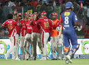 Beuran Hendricks is congratulated after taking the catch to dismiss M Vijay, Delhi Daredevils v Kings XI Punjab, IPL 2014, Delhi, May 19, 2014