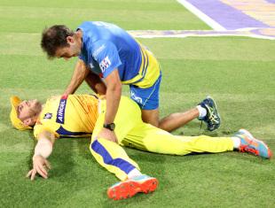 Faf du Plessis stretches during a time-out, Kolkata Knight Riders v Chennai Super Kings, IPL 2014, Kolkata, May 20, 2014