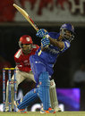 Rahul Tewatia looks to go over the top, Kings XI Punjab v Rajasthan Royals, IPL 2014, Mohali, May 23, 2014
