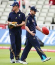 Phillip Hughes walks past Jamie Cox, Birmingham, England, July 30, 2009