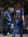 Aditya Tare celebrates Mumbai Indians' stunning win as a dejected Shane Watson walks by, Mumbai Indians v Rajasthan Royals, IPL 2014, Mumbai, May 25, 2014