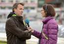 Graeme Swann huddles up in his new role behind the microphone, England v Sri Lanka, 3rd ODI, Old Trafford, May 28, 2014
