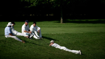 Players at the boundary's edge at Wormsley Cricket Club