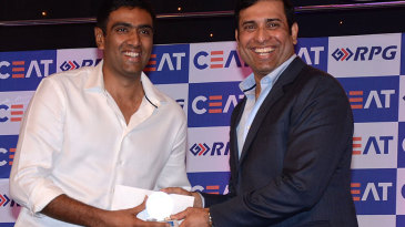 R Ashwin receives the Indian Player of the Year award from VVS Laxman at the CEAT Awards