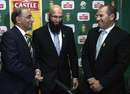 Haroon Lorgat congratulates Hashim Amla on becoming South Africa's Test captain, Johannesburg, June 3, 2014