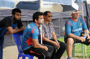 Suhrawadi Shuvo, Abdur Razzak, Habibul Bashar and Heath Streak at a training session, Mirpur, June 5, 2014