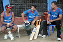 Rubel Hossain, Mahmudullah and Ziaur Rahman chat during a training session, Mirpur, June 5, 2014