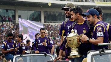 Yusuf Pathan, Manish Pandey, Gautam Gambhir and the rest of KKR at the felicitation ceremony
