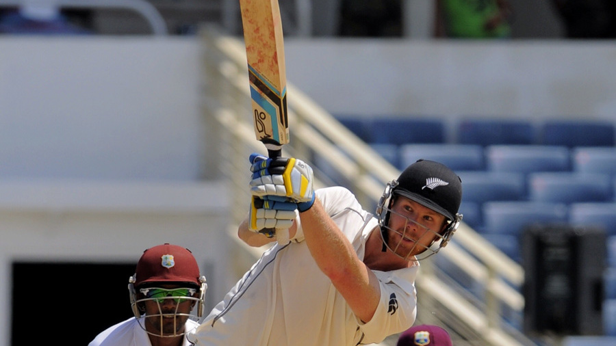 Jimmy Neesham swings over the leg side