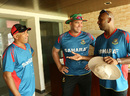 Bangladesh head coach Chandika Hathurusingha, bowling coach Heath Streak and trainer Mario Villavarayan, Dhaka, June 10, 2014
