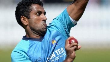 Dhammika Prasad bowls in the Sri Lanka nets