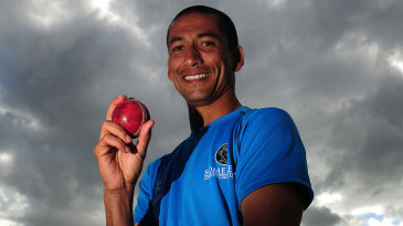 Alfonso Thomas poses after taking four wickets in four balls
