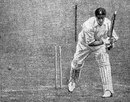 Nummy Deane is bowled by Arthur Gilligan for 2 as South Africa were bowled out for 30, England v South Africa, 1st Test, Birmingham, June 16,  1924