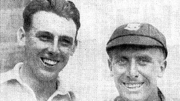Maurice Tate and Arthur Gilligan pose after dismissing South Africa for 30